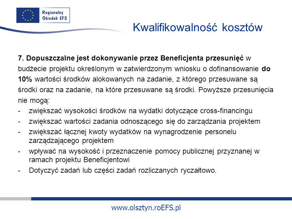 www.olsztyn.roEFS.pl Kwalifikowalność kosztów 7.