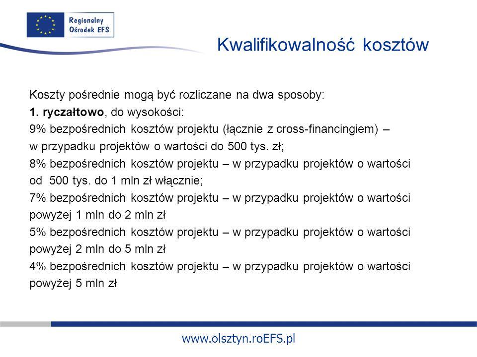 www.olsztyn.roEFS.pl Kwalifikowalność kosztów Koszty pośrednie mogą być rozliczane na dwa sposoby: 1.