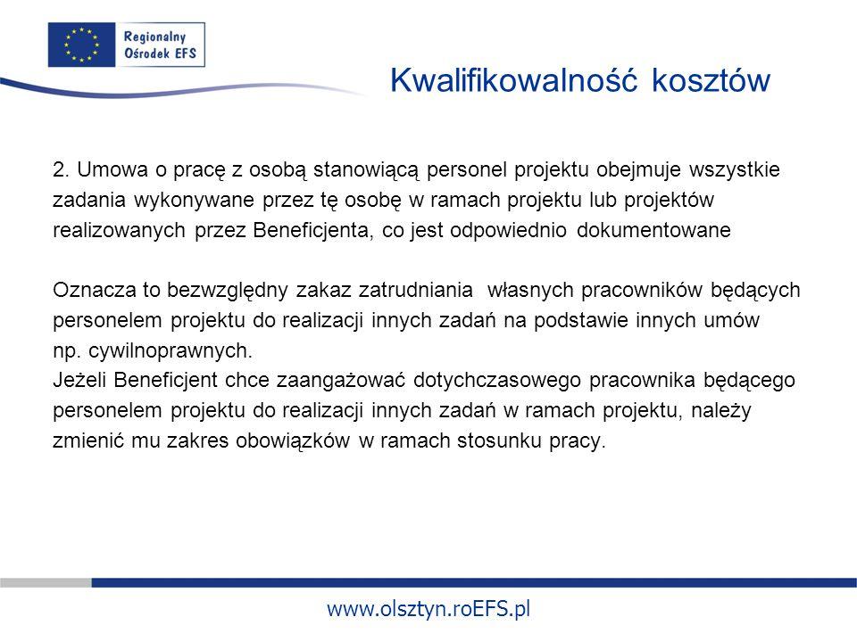 www.olsztyn.roEFS.pl Kwalifikowalność kosztów 2.
