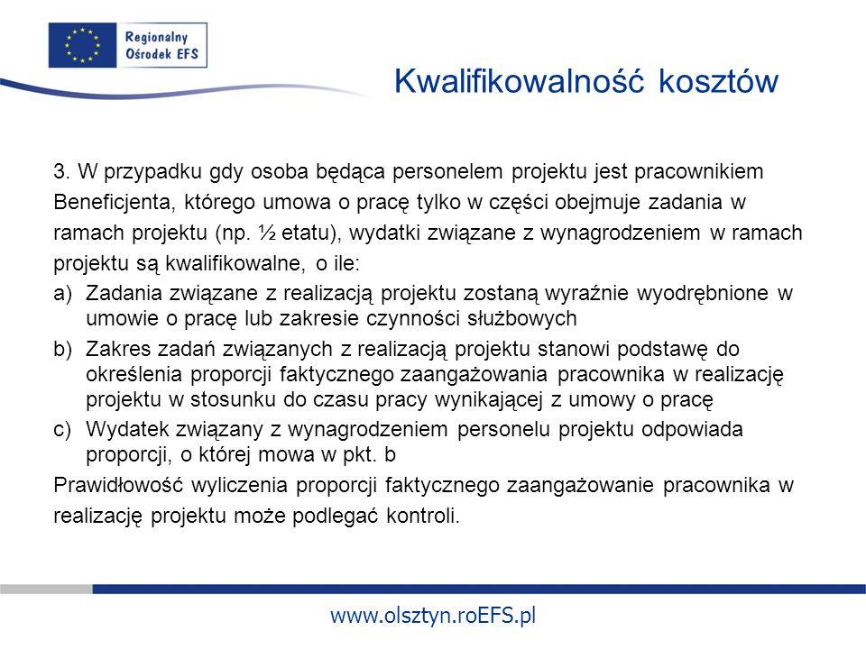 www.olsztyn.roEFS.pl Kwalifikowalność kosztów 3.