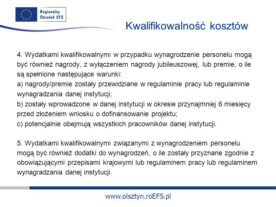 www.olsztyn.roEFS.pl Kwalifikowalność kosztów 4.