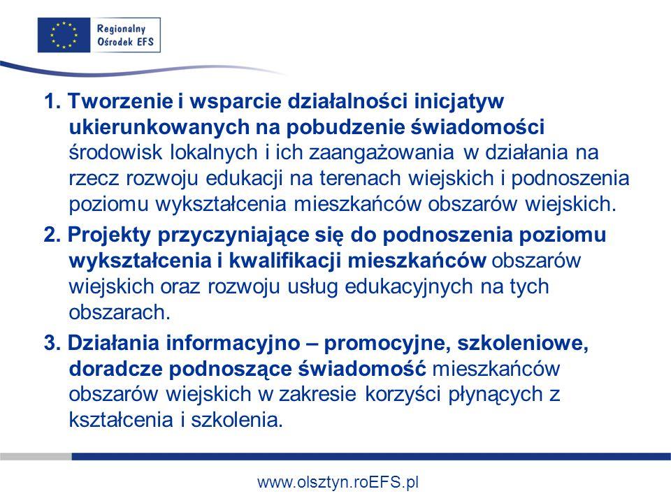www.olsztyn.roEFS.pl 1. Tworzenie i wsparcie działalności inicjatyw ukierunkowanych na pobudzenie świadomości środowisk lokalnych i ich zaangażowania