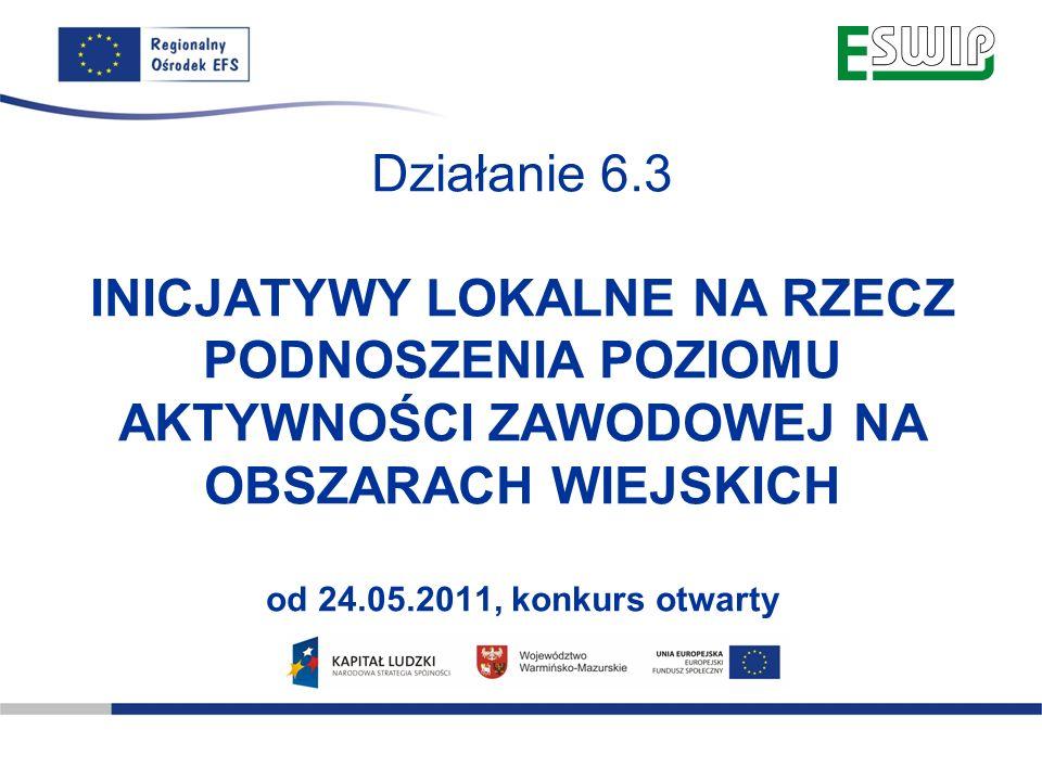 www.olsztyn.roEFS.pl Oddolne inicjatywy lokalne, obejmujące: 1.Projekty przyczyniające się do aktywizacji zawodowej mieszkańców obszarów wiejskich, poprawy zdolności do zatrudnienia oraz rozwoju usług aktywizacyjnych 2.