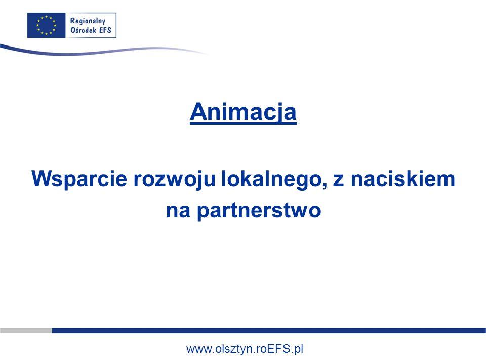 www.olsztyn.roEFS.pl Animacja Wsparcie rozwoju lokalnego, z naciskiem na partnerstwo