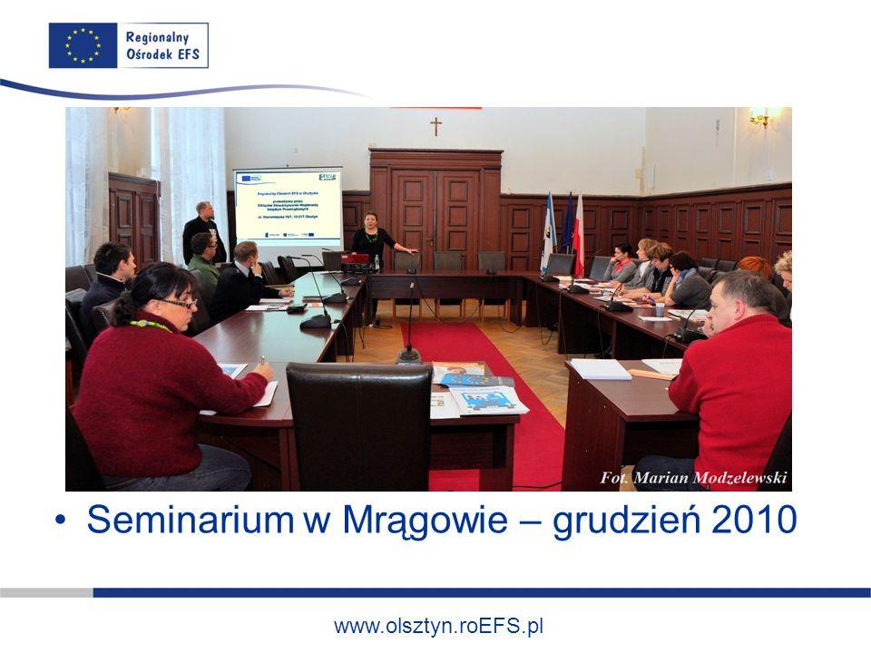 www.olsztyn.roEFS.pl Seminarium w Mrągowie – grudzień 2010