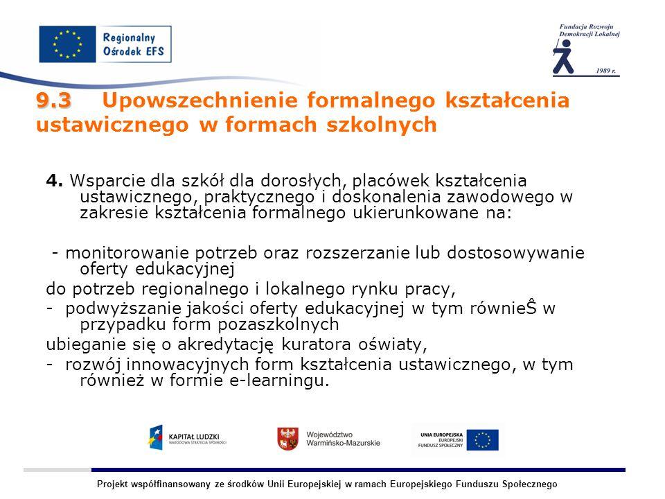 Projekt współfinansowany ze środków Unii Europejskiej w ramach Europejskiego Funduszu Społecznego 4.