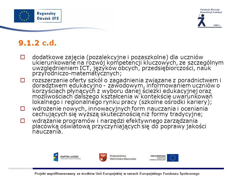 Projekt współfinansowany ze środków Unii Europejskiej w ramach Europejskiego Funduszu Społecznego dodatkowe zajęcia (pozalekcyjne i pozaszkolne) dla uczniów ukierunkowane na rozwój kompetencji kluczowych, ze szczególnym uwzględnieniem ICT, języków obcych, przedsiębiorczości, nauk przyrodniczo-matematycznych; rozszerzanie oferty szkół o zagadnienia związane z poradnictwem i doradztwem edukacyjno - zawodowym, informowaniem uczniów o korzyściach płynących z wyboru danej ścieżki edukacyjnej oraz możliwościach dalszego kształcenia w kontekście uwarunkowań lokalnego i regionalnego rynku pracy (szkolne ośrodki kariery); wdrożenie nowych, innowacyjnych form nauczania i oceniania cechujących się wyższą skutecznością niż formy tradycyjne; wdrażanie programów i narzędzi efektywnego zarządzania placówką oświatową przyczyniających się do poprawy jakości nauczania.