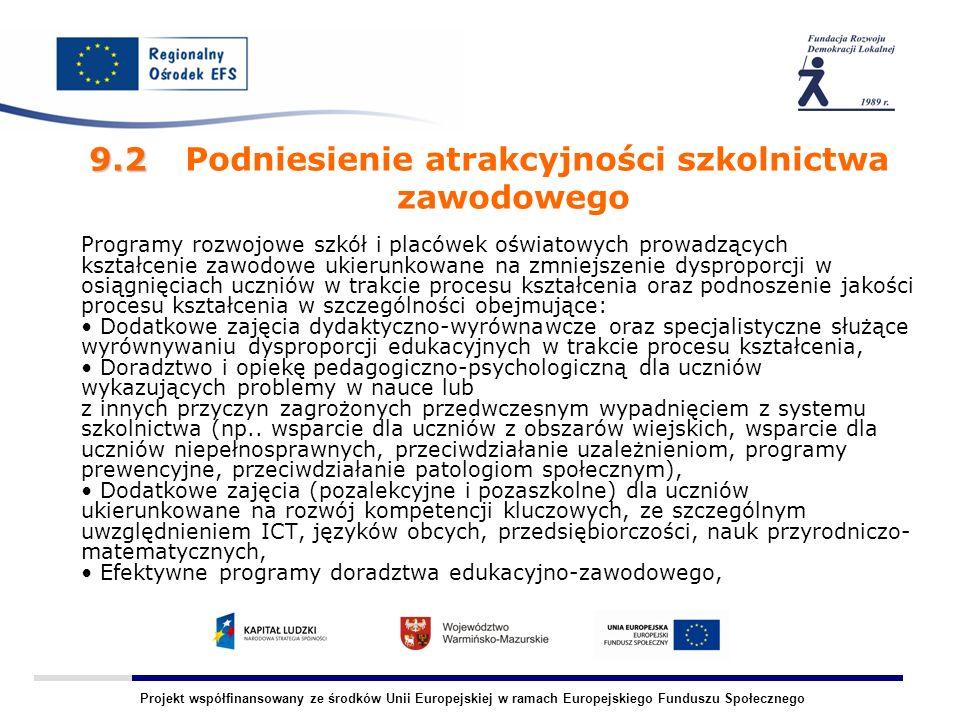 Projekt współfinansowany ze środków Unii Europejskiej w ramach Europejskiego Funduszu Społecznego 9.2 9.2 Podniesienie atrakcyjności szkolnictwa zawodowego Programy rozwojowe szkół i placówek oświatowych prowadzących kształcenie zawodowe ukierunkowane na zmniejszenie dysproporcji w osiągnięciach uczniów w trakcie procesu kształcenia oraz podnoszenie jakości procesu kształcenia w szczególności obejmujące: Dodatkowe zajęcia dydaktyczno-wyrównawcze oraz specjalistyczne służące wyrównywaniu dysproporcji edukacyjnych w trakcie procesu kształcenia, Doradztwo i opiekę pedagogiczno-psychologiczną dla uczniów wykazujących problemy w nauce lub z innych przyczyn zagrożonych przedwczesnym wypadnięciem z systemu szkolnictwa (np..