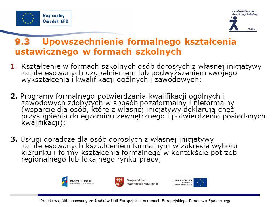 Projekt współfinansowany ze środków Unii Europejskiej w ramach Europejskiego Funduszu Społecznego 9.3 9.3 Upowszechnienie formalnego kształcenia ustawicznego w formach szkolnych 1.Kształcenie w formach szkolnych osób dorosłych z własnej inicjatywy zainteresowanych uzupełnieniem lub podwyższeniem swojego wykształcenia i kwalifikacji ogólnych i zawodowych; 2.