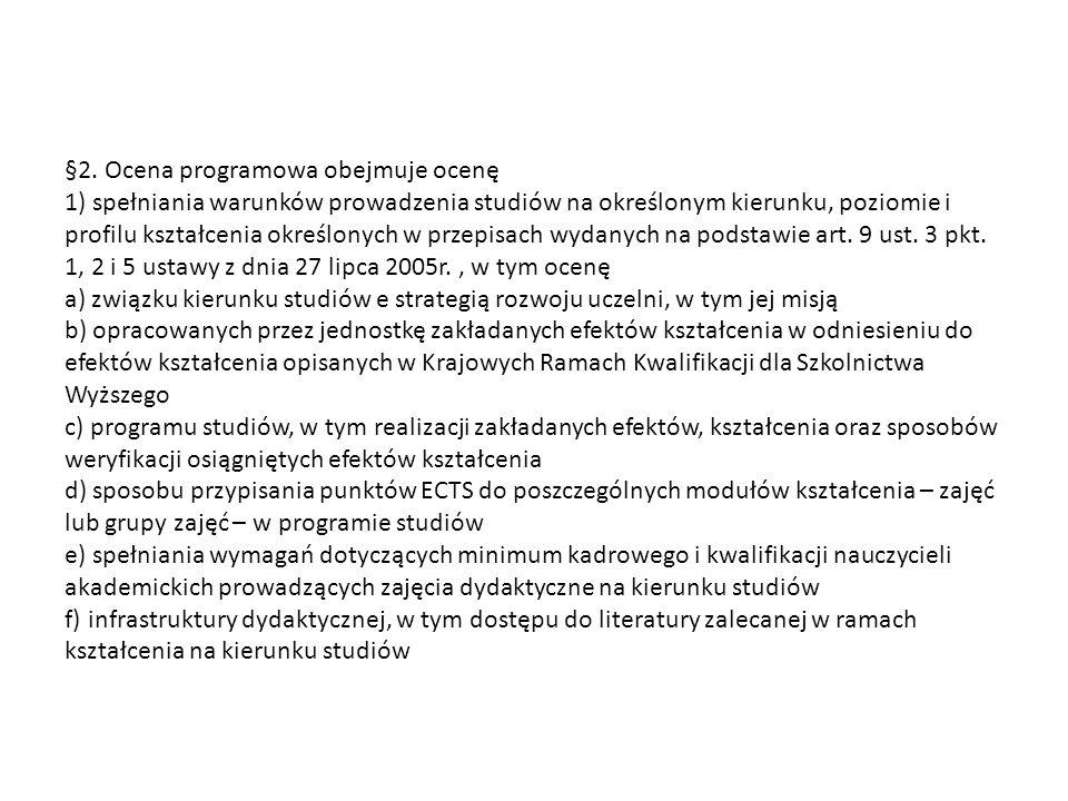 §2. Ocena programowa obejmuje ocenę 1) spełniania warunków prowadzenia studiów na określonym kierunku, poziomie i profilu kształcenia określonych w pr