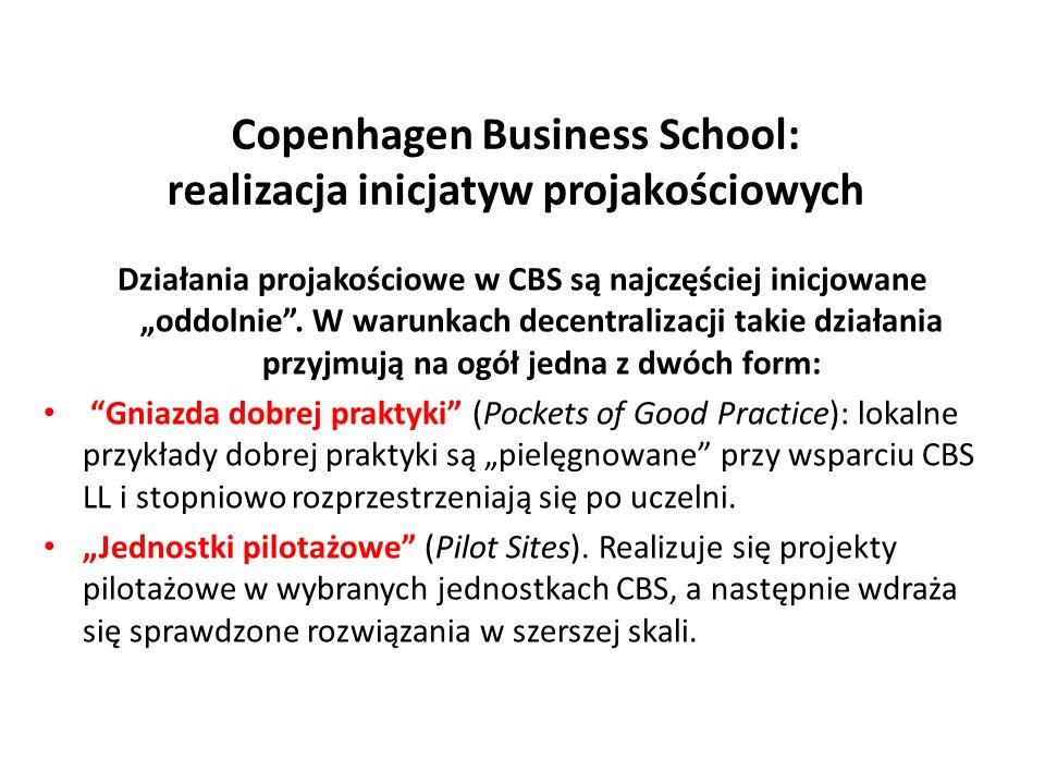 Copenhagen Business School: realizacja inicjatyw projakościowych Działania projakościowe w CBS są najczęściej inicjowane oddolnie. W warunkach decentr