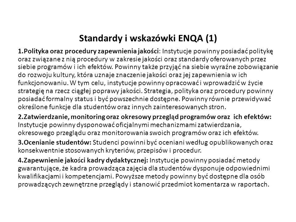 Standardy i wskazówki ENQA (1) 1.Polityka oraz procedury zapewnienia jakości: Instytucje powinny posiadać politykę oraz związane z nią procedury w zak