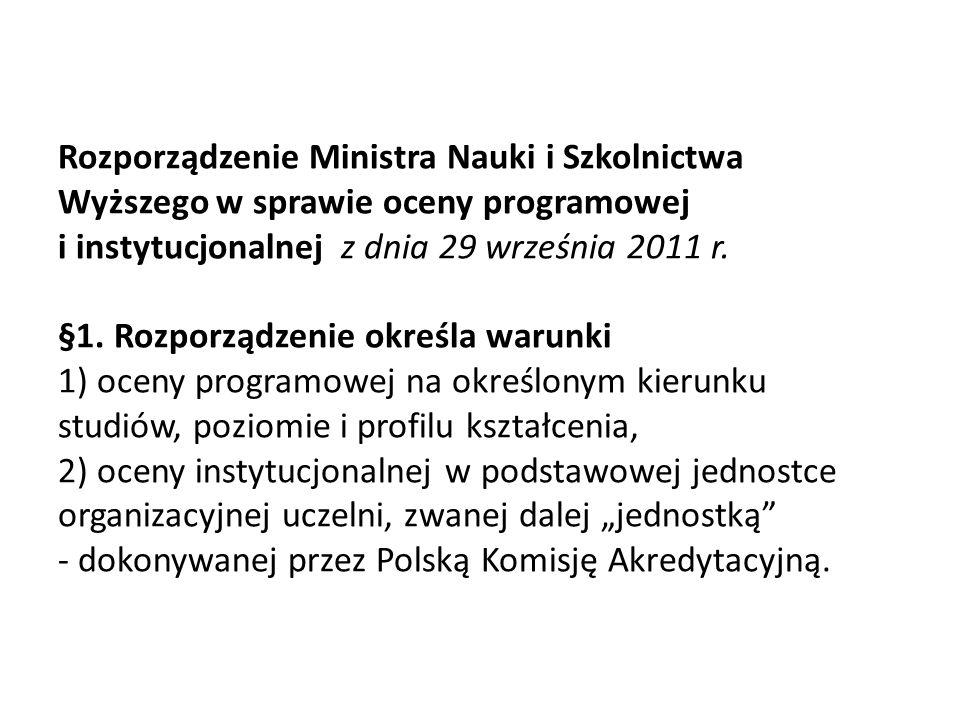 Rozporządzenie Ministra Nauki i Szkolnictwa Wyższego w sprawie oceny programowej i instytucjonalnej z dnia 29 września 2011 r. §1. Rozporządzenie okre