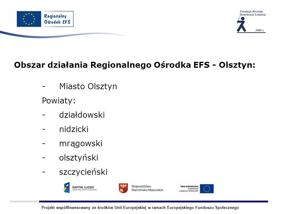 Projekt współfinansowany ze środków Unii Europejskiej w ramach Europejskiego Funduszu Społecznego Obszar działania Regionalnego Ośrodka EFS - Olsztyn:
