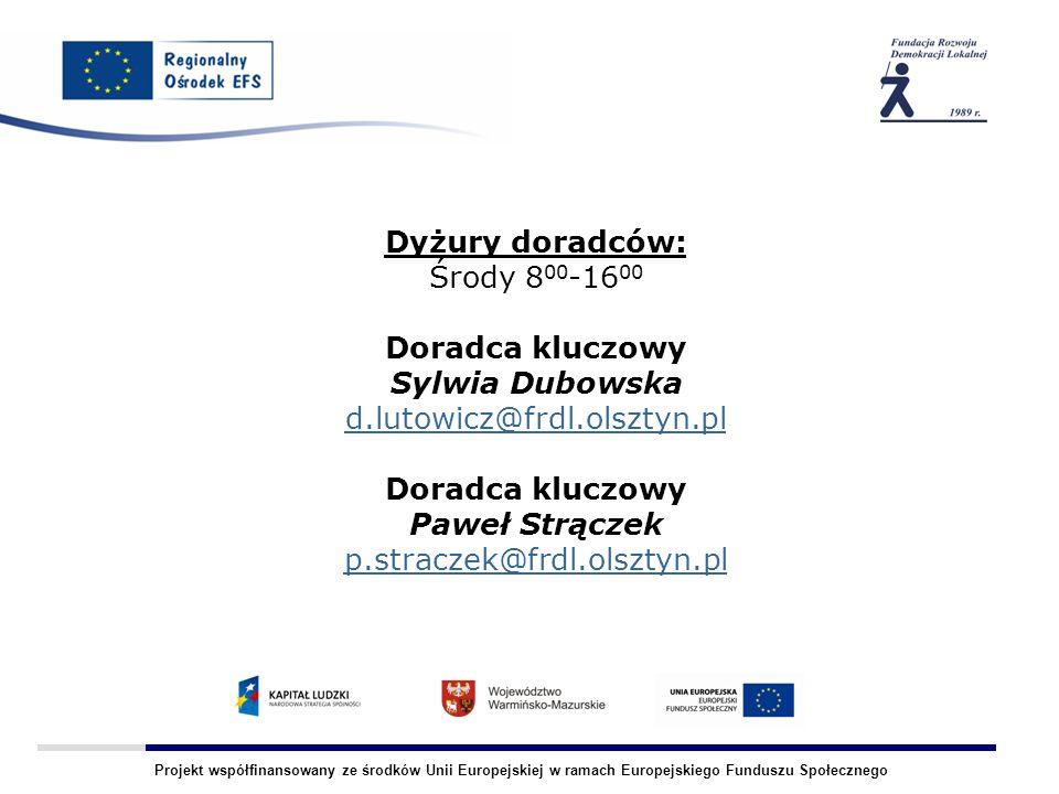 Projekt współfinansowany ze środków Unii Europejskiej w ramach Europejskiego Funduszu Społecznego Dyżury doradców: Środy 8 00 -16 00 Doradca kluczowy