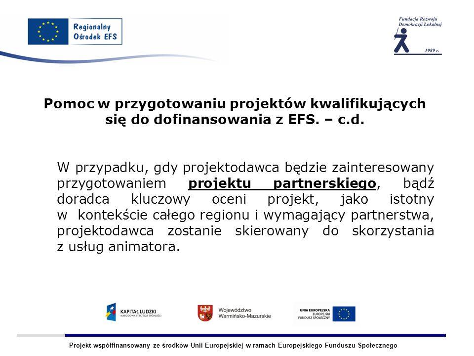 Projekt współfinansowany ze środków Unii Europejskiej w ramach Europejskiego Funduszu Społecznego Pomoc w przygotowaniu projektów kwalifikujących się do dofinansowania z EFS.
