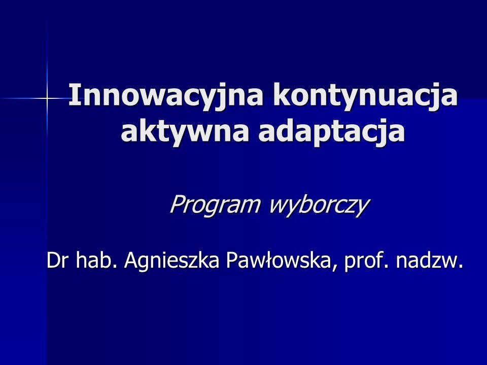 Innowacyjna kontynuacja aktywna adaptacja Program wyborczy Dr hab.