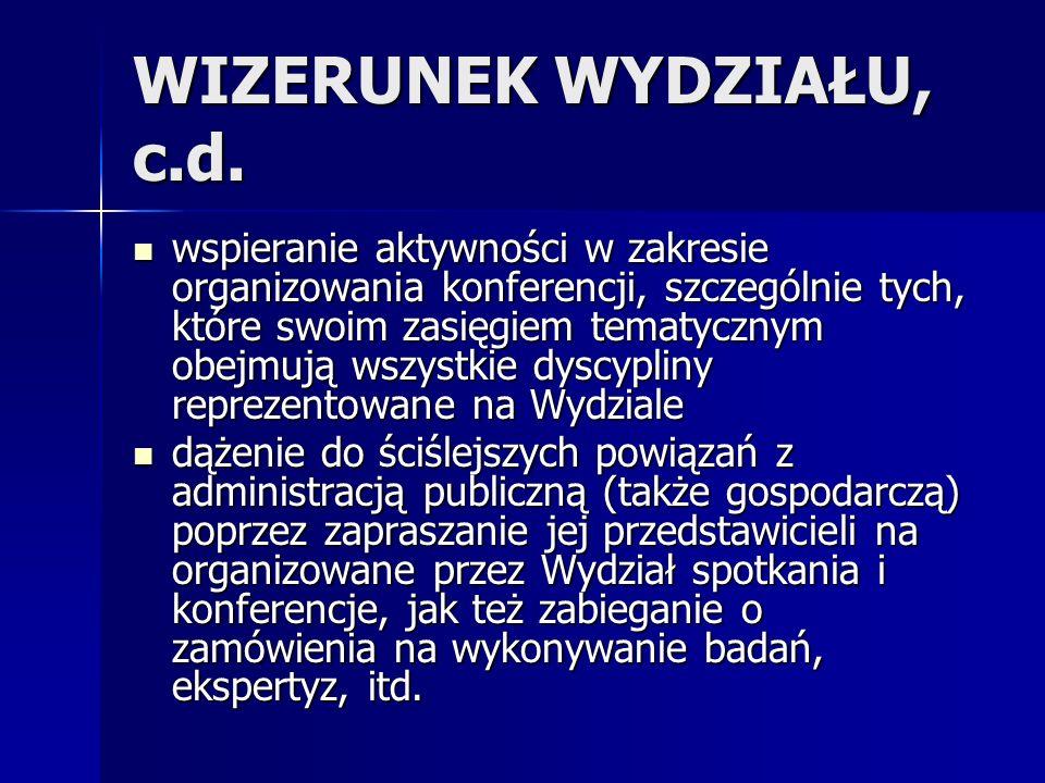 WIZERUNEK WYDZIAŁU, c.d.