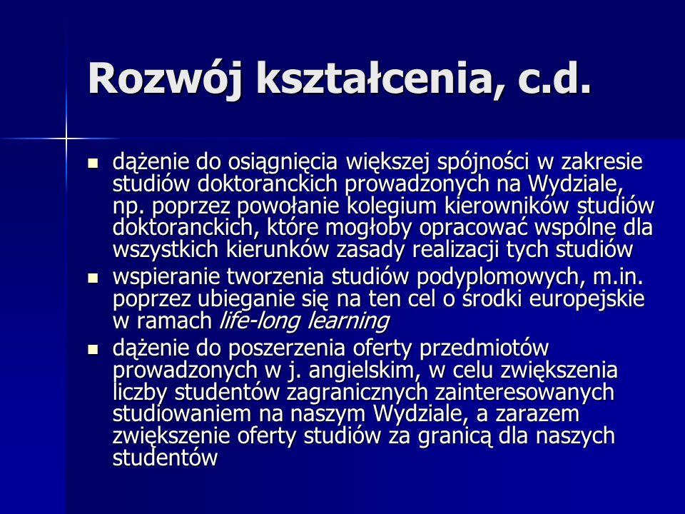Rozwój kształcenia, c.d.