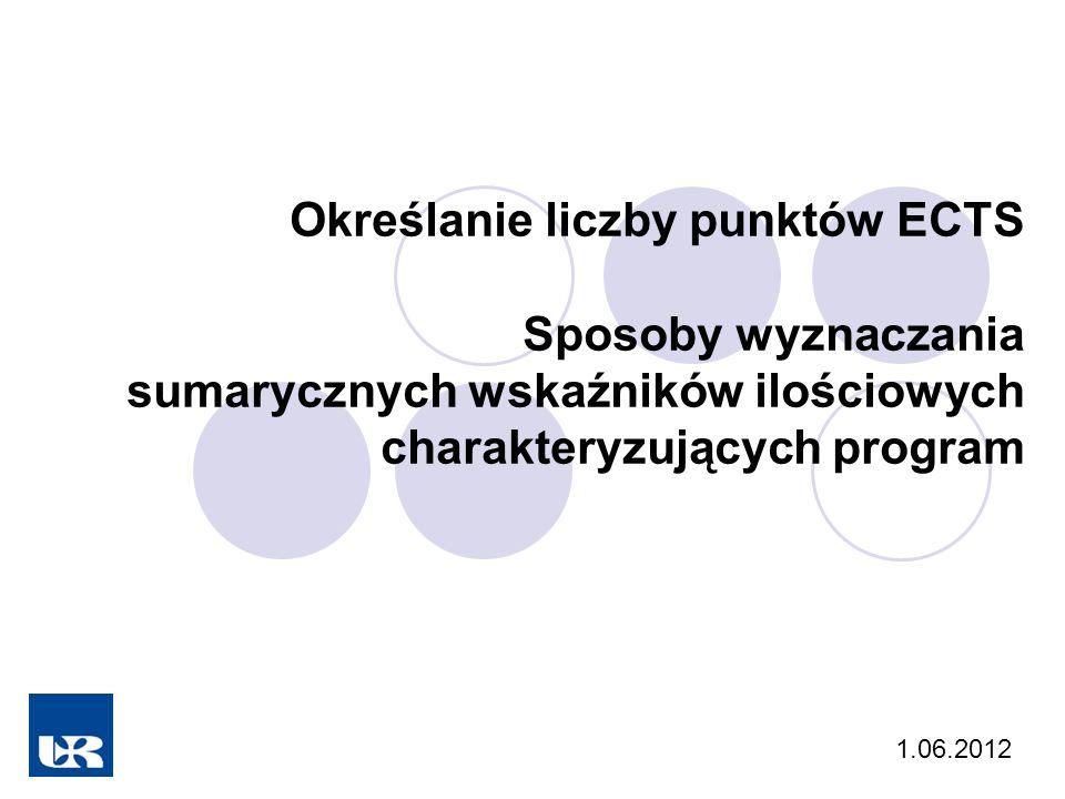 Określanie liczby punktów ECTS Sposoby wyznaczania sumarycznych wskaźników ilościowych charakteryzujących program 1.06.2012
