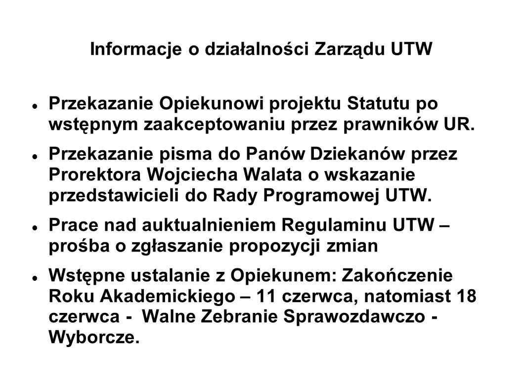 Informacje o działalności Zarządu UTW Przekazanie Opiekunowi projektu Statutu po wstępnym zaakceptowaniu przez prawników UR. Przekazanie pisma do Panó