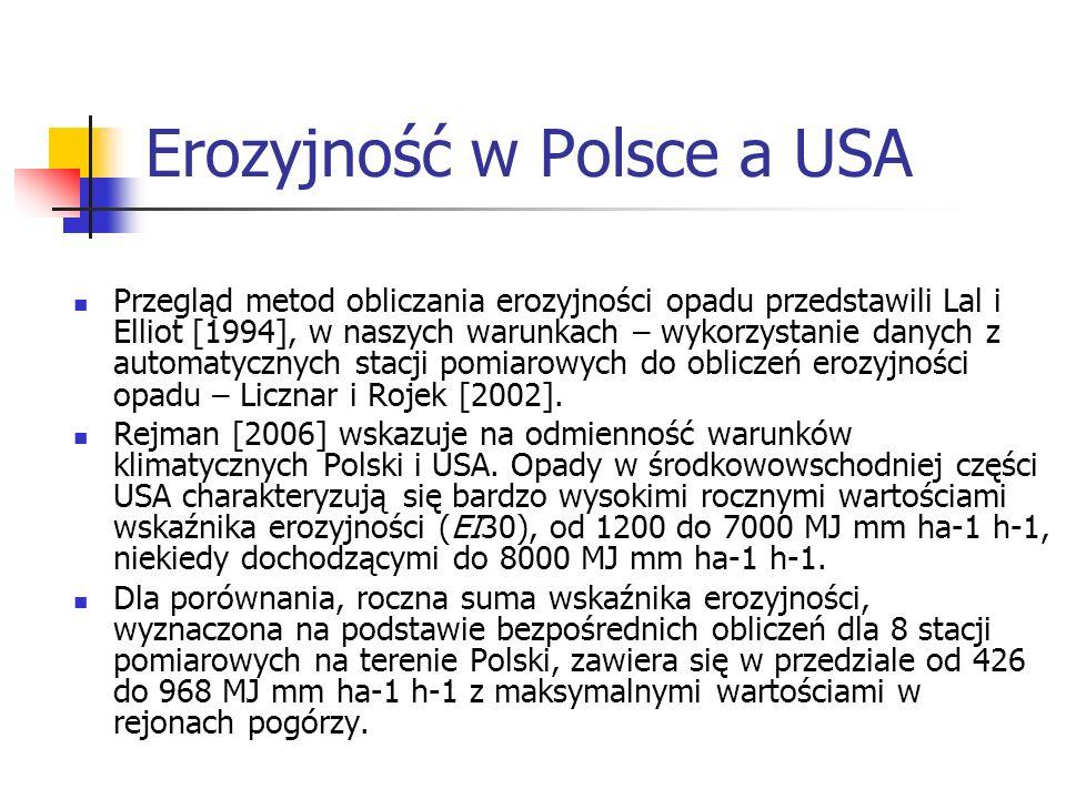 Erozyjność w Polsce a USA Przegląd metod obliczania erozyjności opadu przedstawili Lal i Elliot [1994], w naszych warunkach – wykorzystanie danych z a