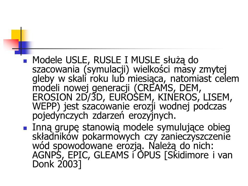 Modele USLE, RUSLE I MUSLE służą do szacowania (symulacji) wielkości masy zmytej gleby w skali roku lub miesiąca, natomiast celem modeli nowej generac