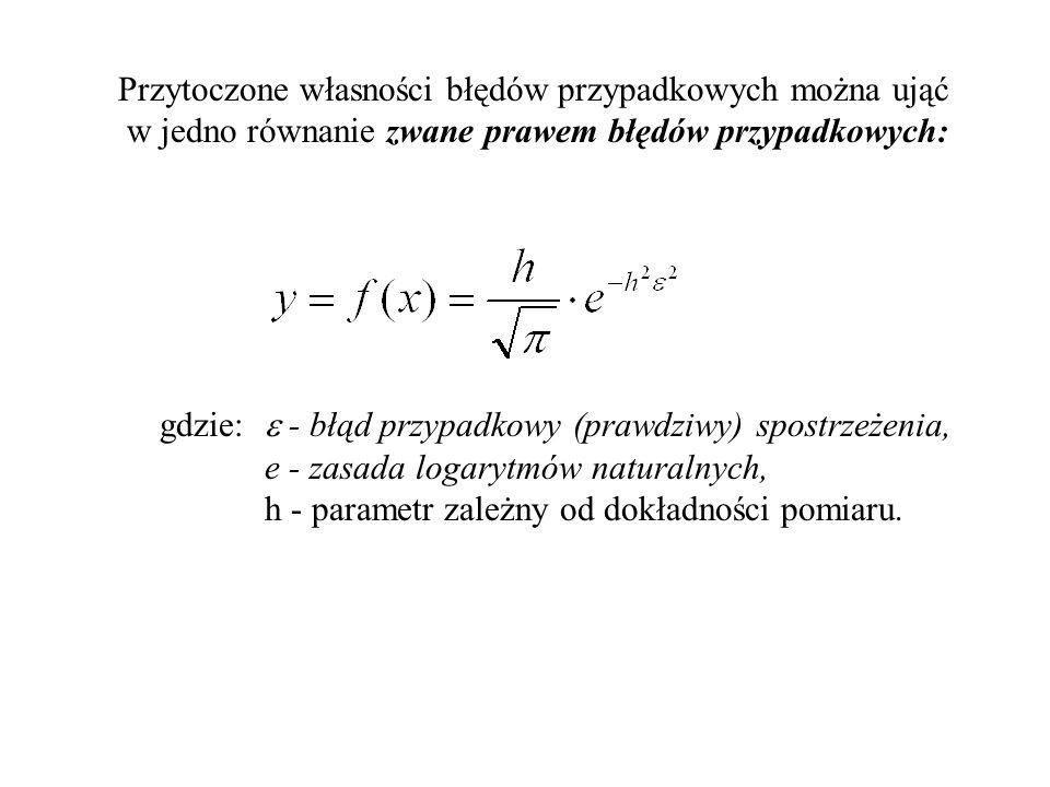 Przytoczone własności błędów przypadkowych można ująć w jedno równanie zwane prawem błędów przypadkowych: gdzie: - błąd przypadkowy (prawdziwy) spostr