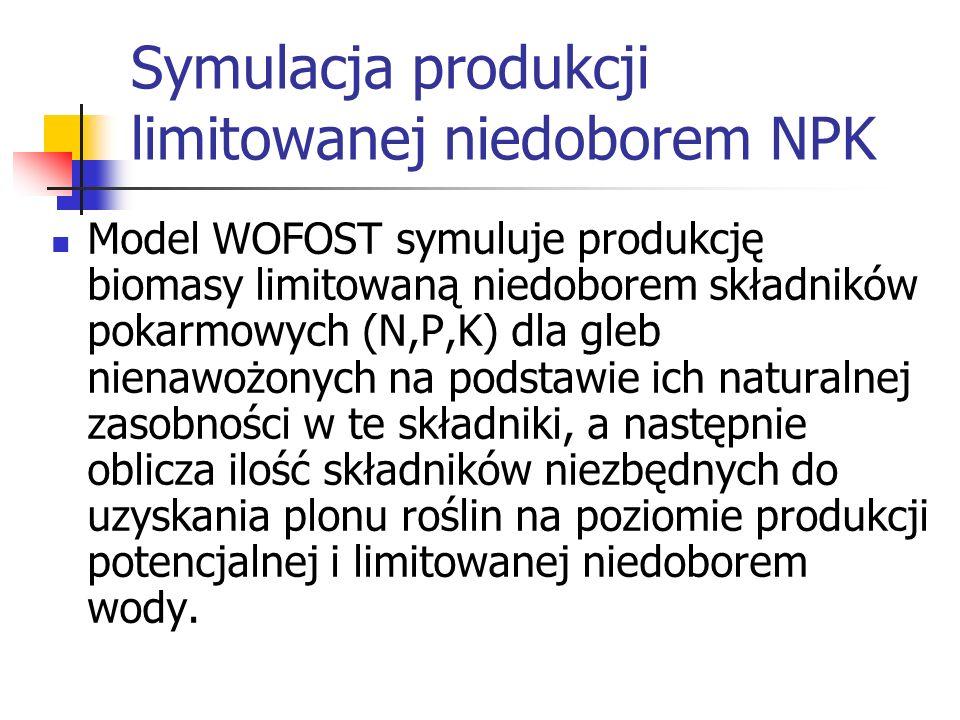Symulacja produkcji limitowanej niedoborem NPK Model WOFOST symuluje produkcję biomasy limitowaną niedoborem składników pokarmowych (N,P,K) dla gleb n