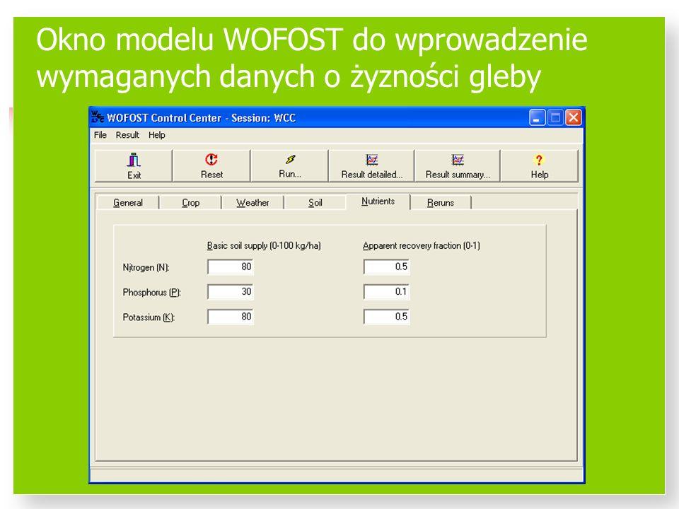 Okno modelu WOFOST do wprowadzenie wymaganych danych o żyzności gleby