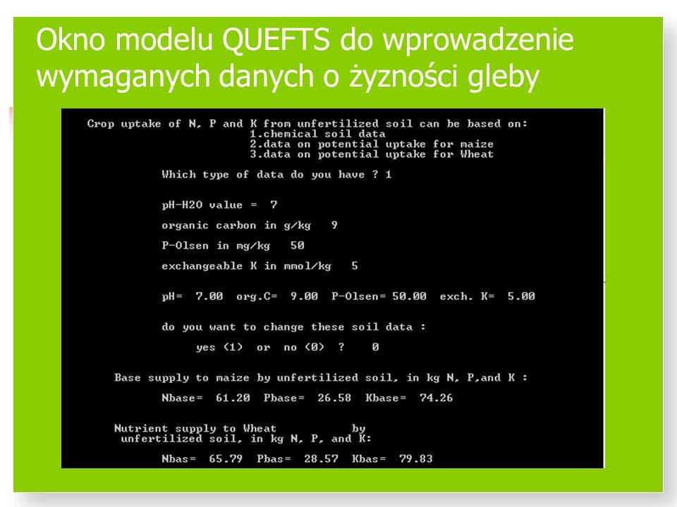 Okno modelu QUEFTS do wprowadzenie wymaganych danych o żyzności gleby