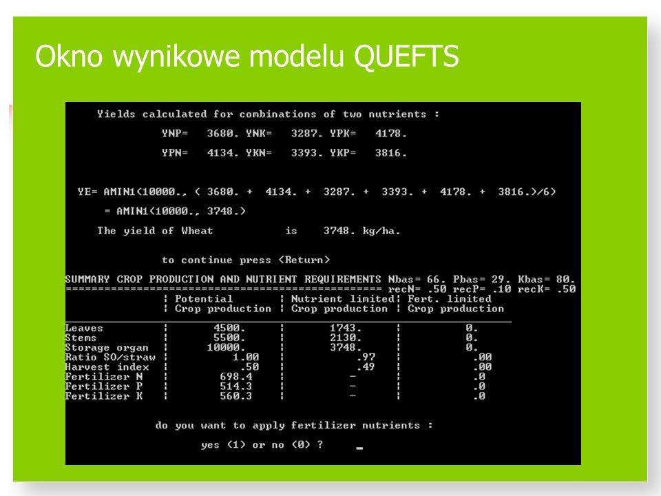 Okno wynikowe modelu QUEFTS