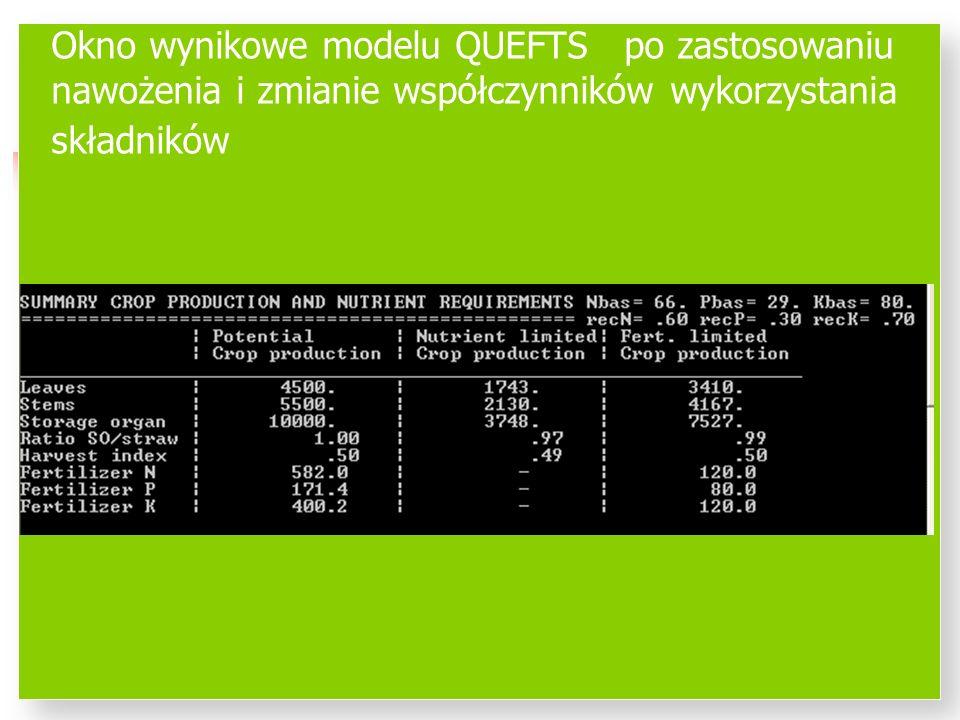 Okno wynikowe modelu QUEFTS po zastosowaniu nawożenia i zmianie współczynników wykorzystania składników