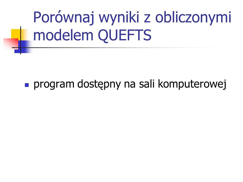 Porównaj wyniki z obliczonymi modelem QUEFTS program dostępny na sali komputerowej
