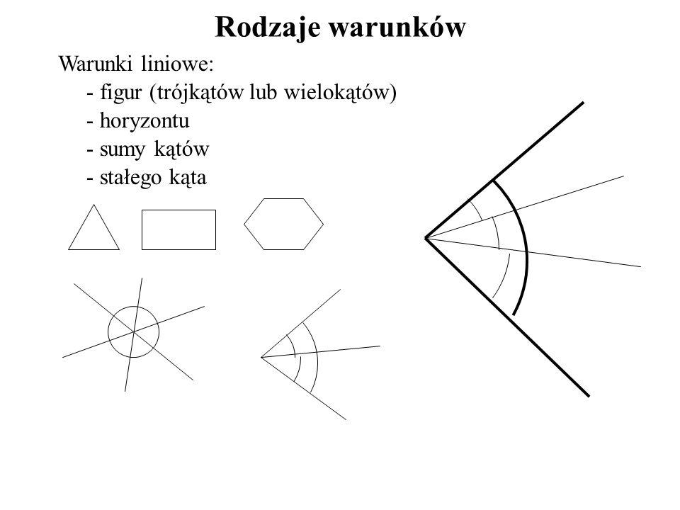 Rodzaje warunków Warunki liniowe: - figur (trójkątów lub wielokątów) - horyzontu - sumy kątów - stałego kąta