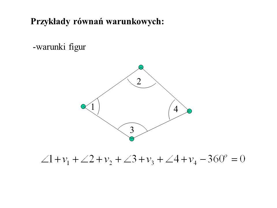 Wzory na liczbę warunków w = n – 2p + 3 + st + 2e Ogólna liczba warunków: n – liczba zmierzonych kątów + liczba baz p – liczba wszystkich punktów w sieci st – liczba stałych kątów e – liczba niezależnych poligonów otwartych i zamkniętych