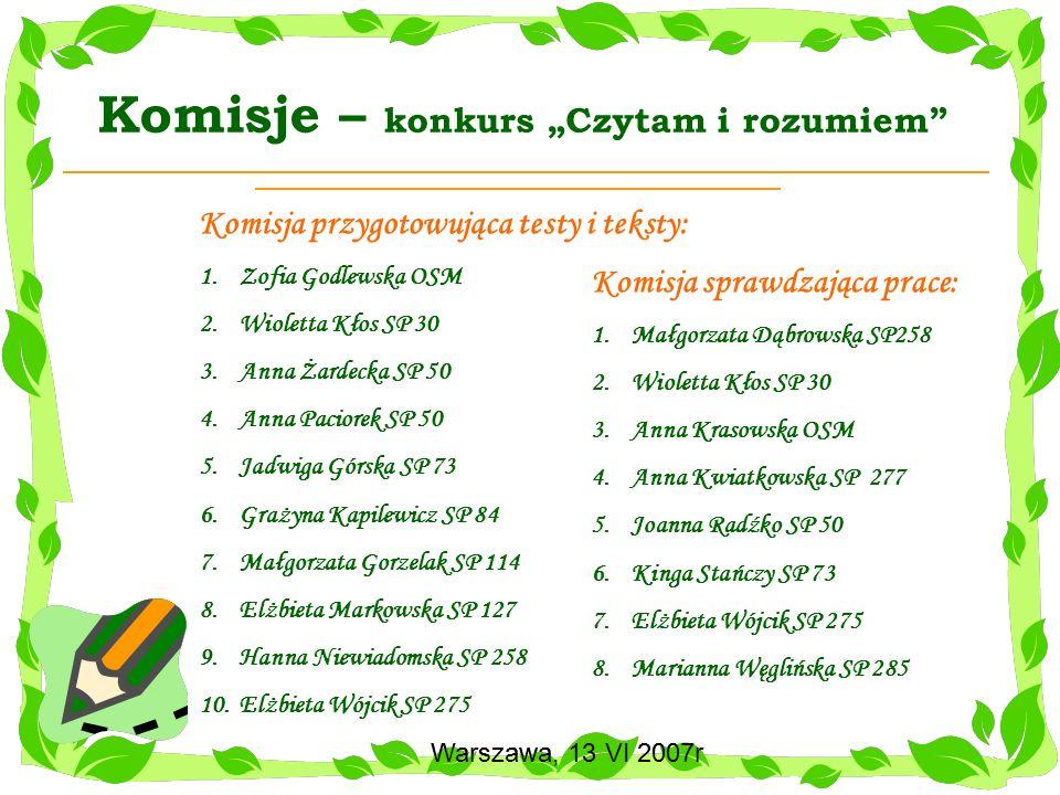 Warszawa, 13 VI 2007r Konkurs Czytam i rozumiem Warszawa, 13 VI 2007r