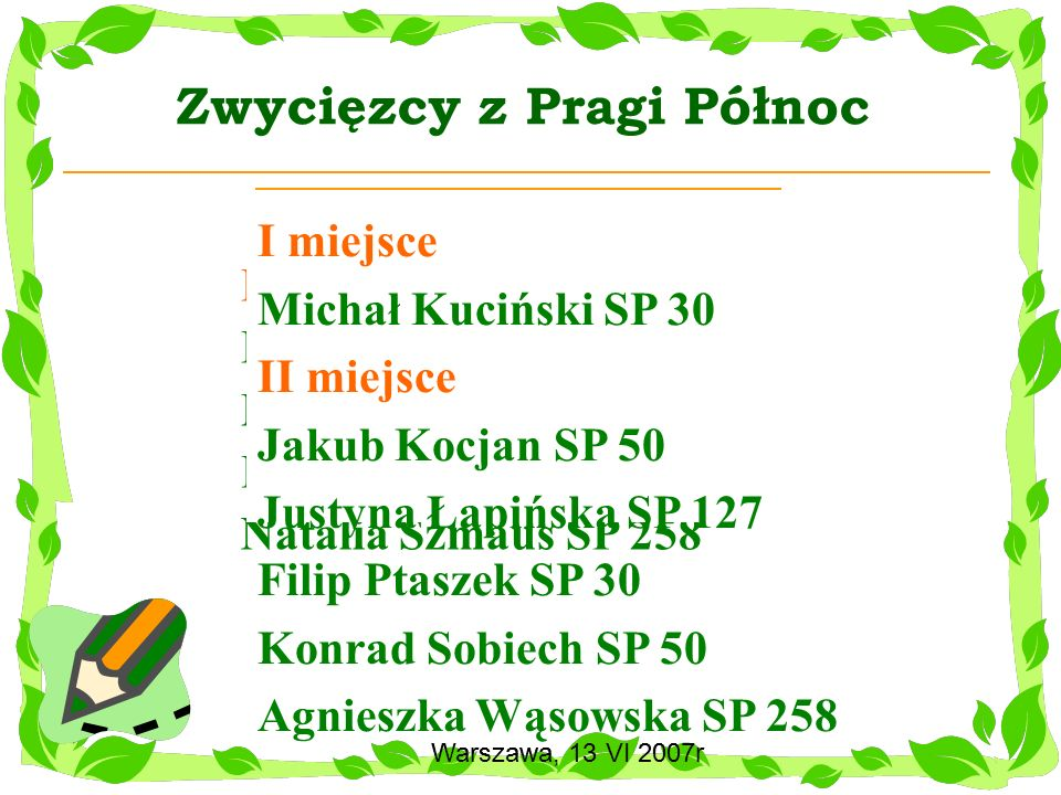 Warszawa, 13 VI 2007r Konkurs Wzorowy matematyk dla kl.