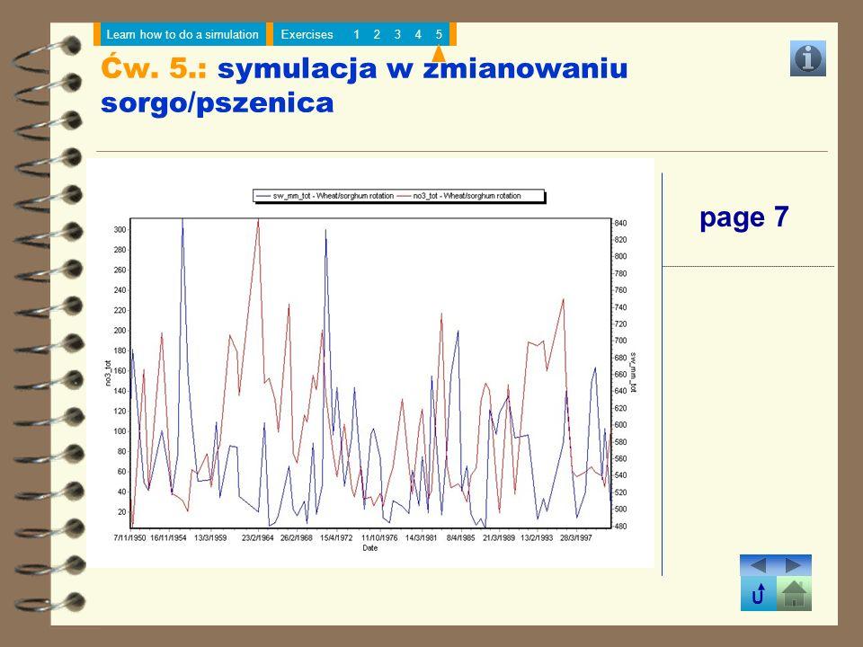 U Learn how to do a simulationExercises12345 page 7 Ćw. 5.: symulacja w zmianowaniu sorgo/pszenica