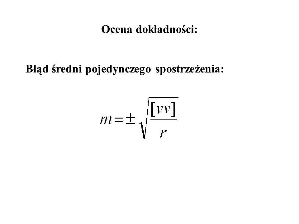 Rozwiązanie równań normalnych korelat: Obliczenie poprawek spostrzeżeń: Kontrola ogólna: