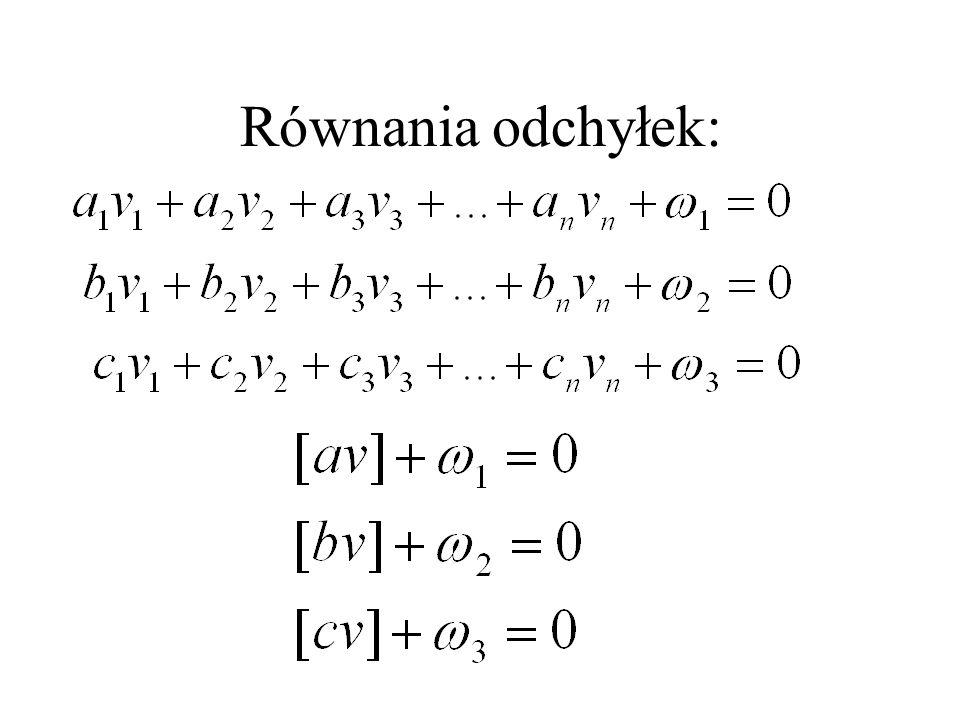 Równania odchyłek: