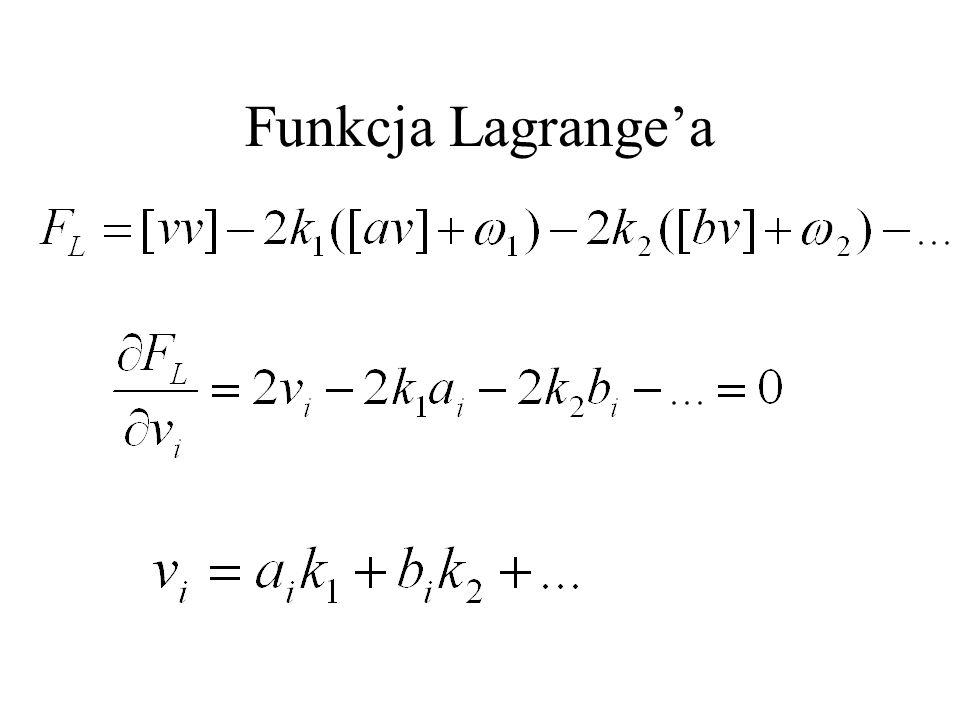 Rozwiązanie układu równań: Obliczenie poprawek: