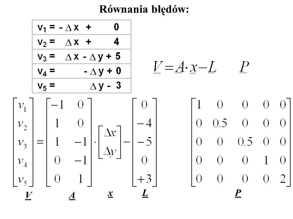 Równania obserwacyjne: Równania błędów: