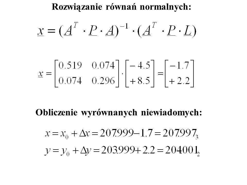 Rozwiązanie równań normalnych: Obliczenie wyrównanych niewiadomych: