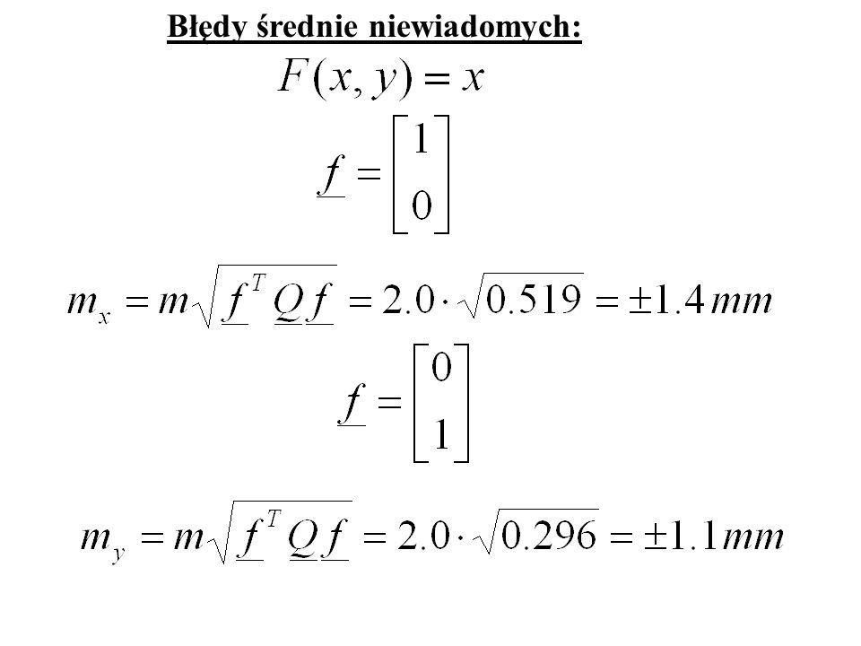 Przykład 2 – sieć niwelacyjna R1R1 R2R2 h 1 h 2 h 3 h 4 h 5 x y