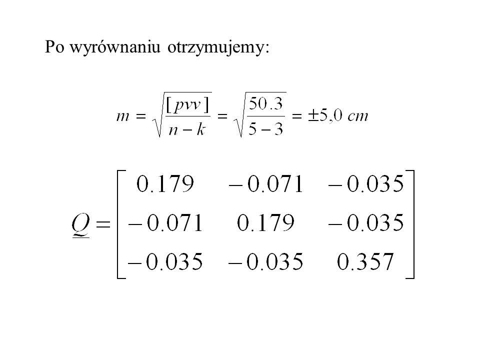 Przykład 3. ABCD AB = 100,00 m BC = 100,00 m CD = 200,00 m AC = 200,06 m AD = 400,08 m xyz