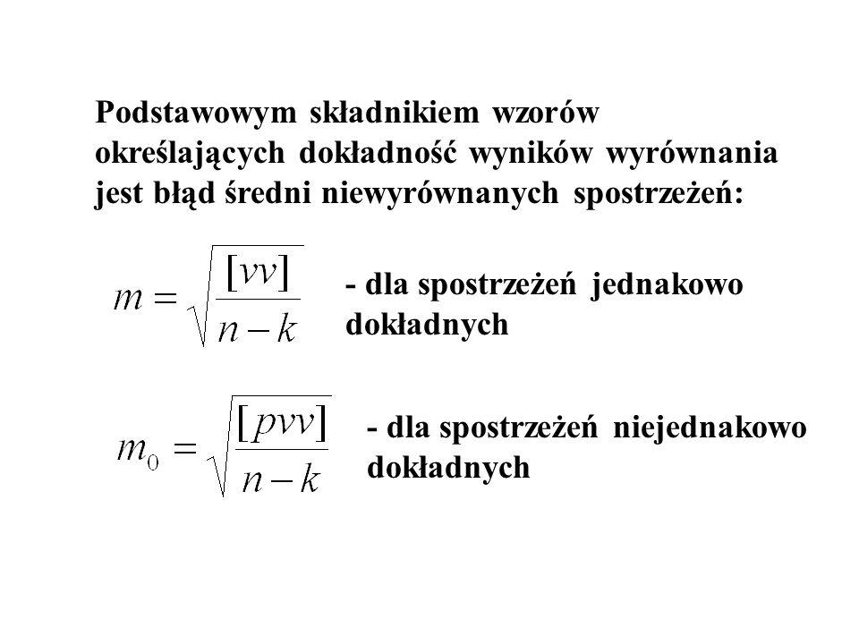 Aby obliczyć błąd średni wielkości takich jak : -wyrównane spostrzeżenia -wyrównane niewiadome -funkcje wyrównanych spostrzeżeń -funkcje wyrównanych niewiadomych należy przedstawić je jako funkcje niewiadomych – x, y, z itd..