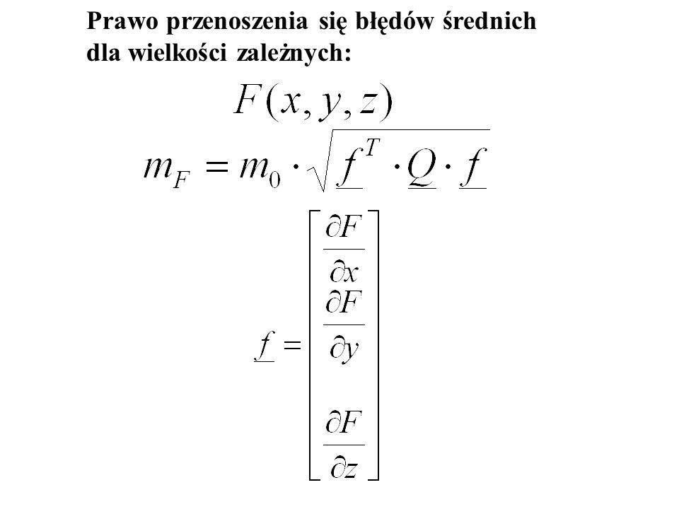 Podstawowym składnikiem wzorów określających dokładność wyników wyrównania jest błąd średni niewyrównanych spostrzeżeń: - dla spostrzeżeń jednakowo dokładnych - dla spostrzeżeń niejednakowo dokładnych