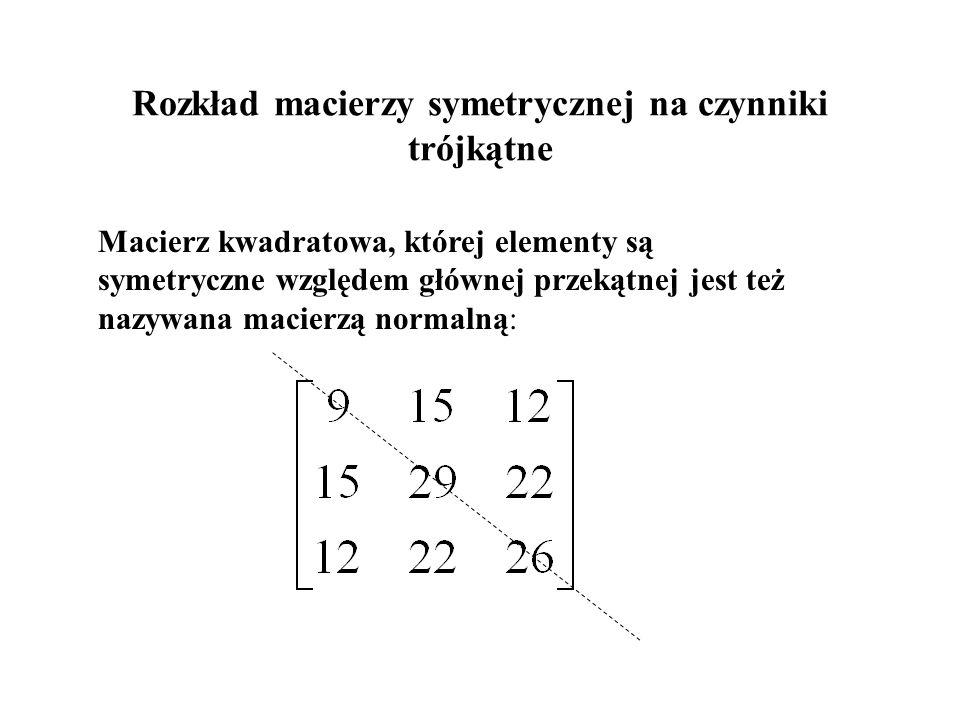 Rozkład macierzy symetrycznej na czynniki trójkątne Macierz kwadratowa, której elementy są symetryczne względem głównej przekątnej jest też nazywana m