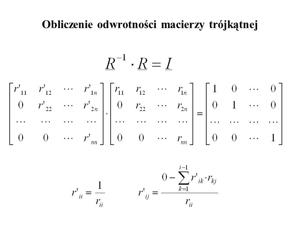 Obliczenie odwrotności macierzy trójkątnej